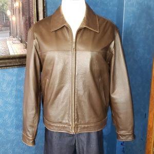 Mens L Leather Jacket Coat Roundtree & Yorke